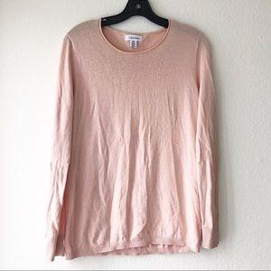 Calvin Klein Coral Pique Neck Pullover Sweater